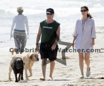 Dustin Hoffman Walks the Beach with Wife and Dogs