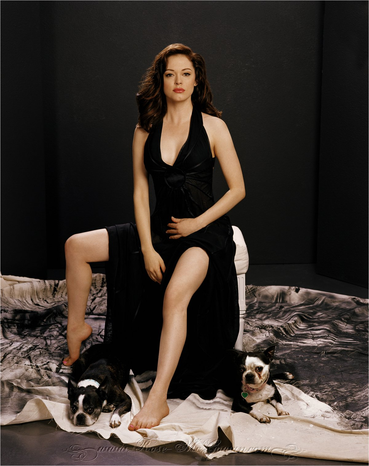 Rose McGowan - Boston Terriers