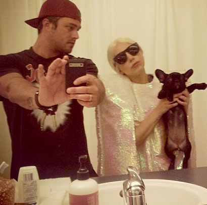 lady gaga french bulldog selfie